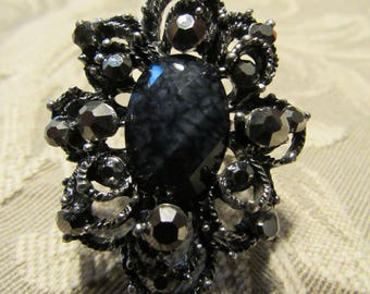 Gothic Victorian Black and Rhinestone Adjustable Filigree Ring