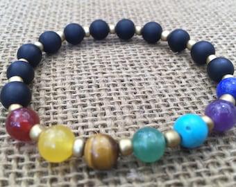 Chakra Bracelet with Matte Onyx Beads