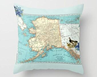 Alaska Map Throw Pillow - Ptarmigan and forget me not - retro - Alaska Coast, decor, travel, Vintage Alaska