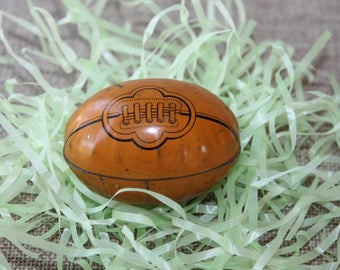 Vintage Small Unique Tin Lithograph Easter Candy Egg - Football Design, Vintage Tin Easter Egg Candy Holder, Vintage Easter Candy Container