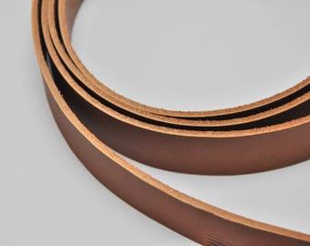 Premium real leather strap -133cm Long Whisky Color Veg-Tan (1.8-2.0 mm)