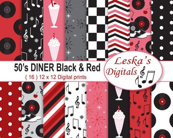 50s Diner Digital Pack, Retro 50's Digital Paper, Diner Backgrounds, Fifties Diner Digital Papers, Rock and Roll Digital Paper, Red & Black