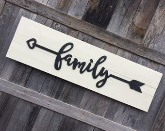 Family arrow wooden sign, black and white shiplap sign, housewarming, wedding gift, bedroom sign, boho sign, tribal arrow, rustic arrow