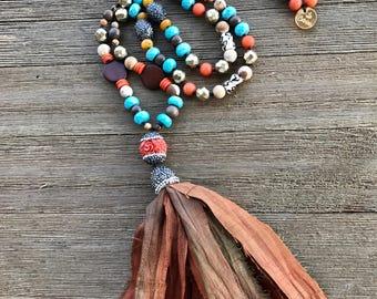 Boho Necklace / Tassel necklace / Brown Necklace / Bohemian Tassel Necklace  / Long Necklace / Brown / Turquoise / Orange