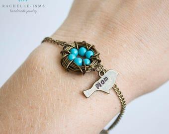 Bronze Nest Bracelet for Moms or Grandmother - The beads represent children or grandchildren - Gift for Christmas Gift for Mom Necklace