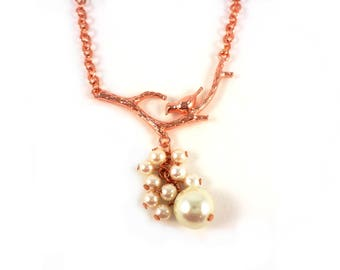 Bird with Pearl rose gold chain