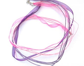 Organza cord, Jewelry Accessories and cotton, pink, purple, 46 cm, set of 2