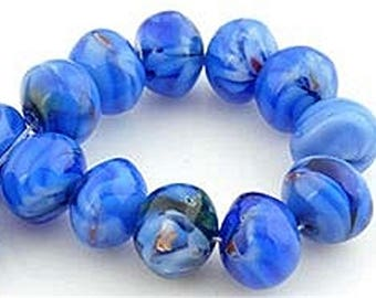 Glass beads blue millefiori shape rondelles, 10 x 8 mm by 10