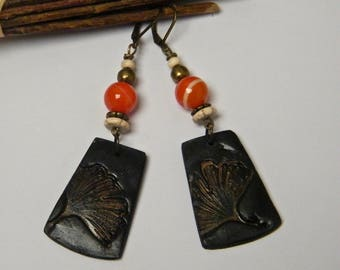 Rustic earrings, ethnic spirit, Asia, agates, polymer clay, howlite