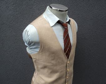 1980s Mens Suit Vest Size 42 Large Lrg L / Wool Waistcoat / Wedding / 80s Vintage Mens Vest / Trad / Gift for Him