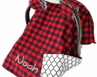 Personalized Buffalo Plaid Carseat Canopy Boy Baby Shower Gift Boy Car Seat Cover Boy Car Seat Canopy Boy Carseat Cover Boy Baby Car Seat