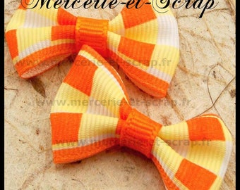 LOT 5 Appliques white bow and orange grosgrain 40 50 embellishment
