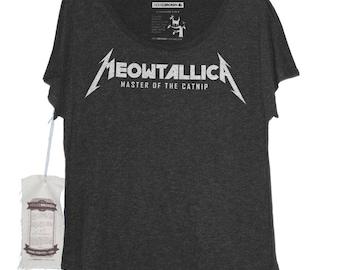 Cat Shirt - Meowtallica Women's Metallica Parody Heavy Metal