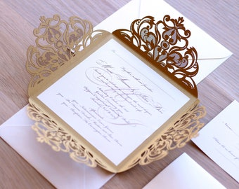 Classy Wedding Invitation, Elegant Wedding Invitations, Gold Invitations, Gold Wedding Invitation, Laser Cut Invitation