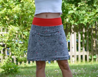 Sweatrock mini skirt grey comic motifs GR 42