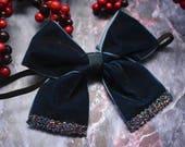 Festive oversized navy with glitter velvet bow for Baby / Toddler / Girls / Kids Headband / Hairband / Hair bow / Barrette / Hairclip