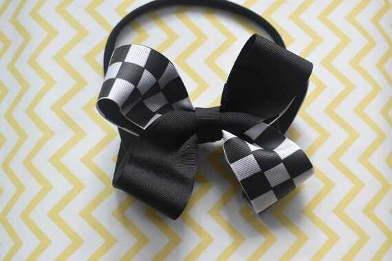 Black and White Checked Bow - Baby / Toddler / Girls / Kids Headband / Hairband / Hair bow / Barrette / Hairclip