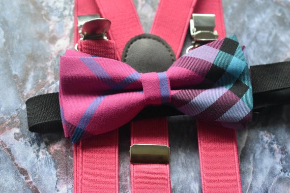 Kids Festive Pink Tartan / Plaid Bow Tie  for Baby, Toddlers and Boys with Braces / Suspenders