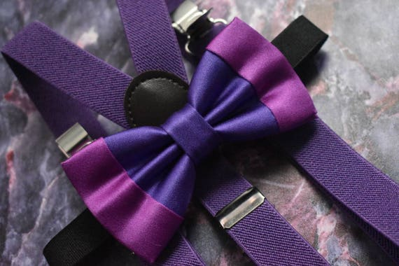 Festive dual tone purple satin bow tie  for Baby, Toddlers and Boys (Kids Bow Ties) with Braces / Suspenders
