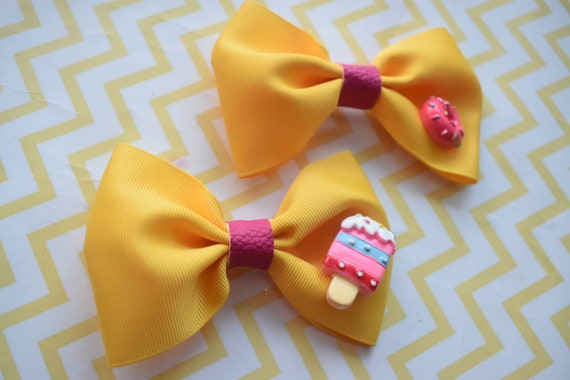 Pair of yellow and pink donut and ice cream hair clips  - Kids / Toddlers / Girl pony tail clips / barrettes / pig tail bows / birthday bow