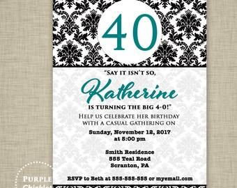 Teal Birthday Invitation say it isn't so Damask 40 50 60th Birthday Invite Surprise Dinner Party Elegant Adult Printable JPG Invite 360