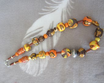 Orange, yellow and Brown polymer clay necklace