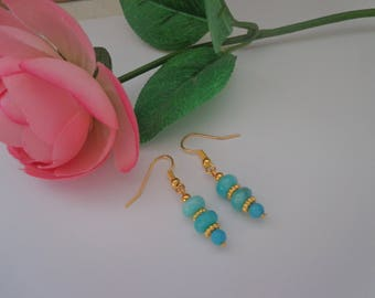 Blue Chalcedony Earrings, Gold filled Blue Earrings,Dangle Earrings