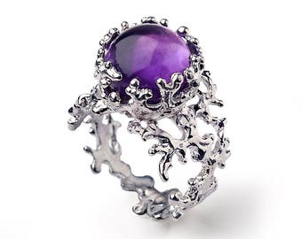 CORAL Purple Amethyst Ring, Sterling Silver Amethyst Ring, Large Amethyst Ring, Purple Amethyst Engagement Ring, Statement Ring