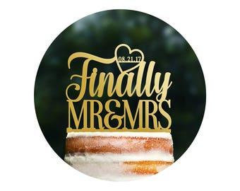 Personalized Finally Mr and Mrs Cake Topper, Mr and Mrs Wedding Cake Topper, Custom Cake Topper, Cake Decor, Cursive Cake Topper (T378)