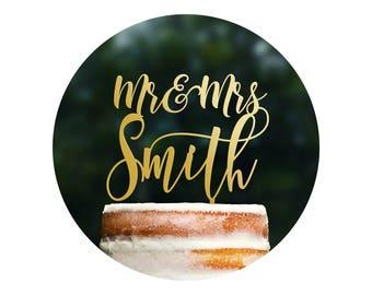 Custom Mr and Mrs Wedding Cake Topper, Calligraphy Cake Topper, Last Name Cake Topper, Wedding Cake Topper, Cake Topper for Wedding (T368)