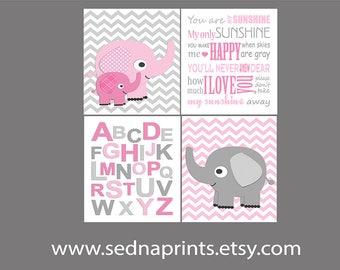 Pink and grey elephant nursery Art Print Set , baby girl wall art, elephant, alphabet, you are my sunshine, pink, gray, abc -UNFRAMED
