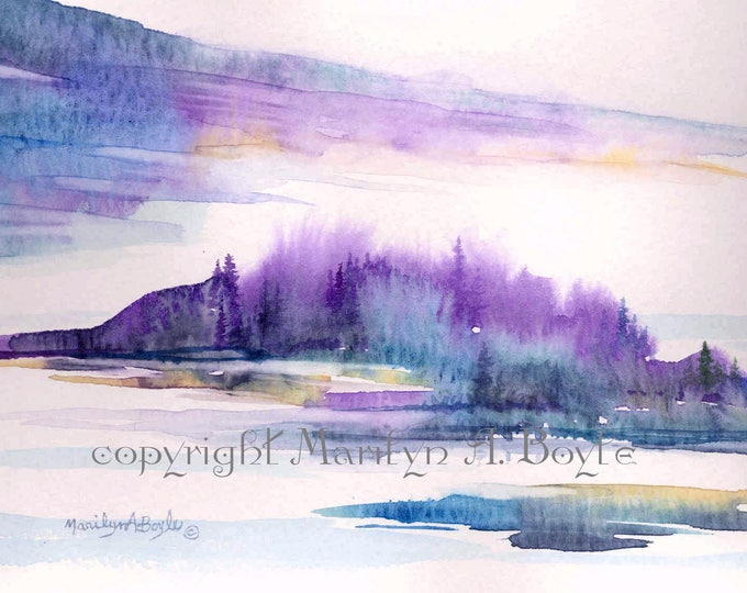 SCENE - WATERCOLOR PRINT; from my watercolor painting, wall art, Canadian art, printed on 140 lb watercolor paper