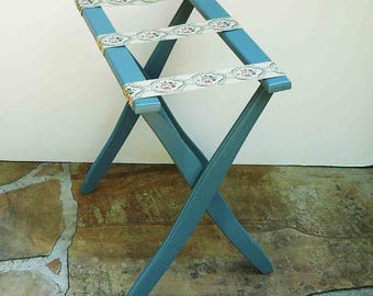 Vingtage Luggage Rack Guest Room Floral Ribbon Farmhouse Mid Century Blue  Wooden Suitcase Holder Table Spare