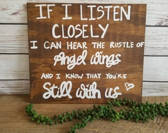 Memorial Sign For Wedding, Memorial Table Sign, Memorial Plaque, In Loving Memory, Memorial Gift, hear the rustle of angel wings
