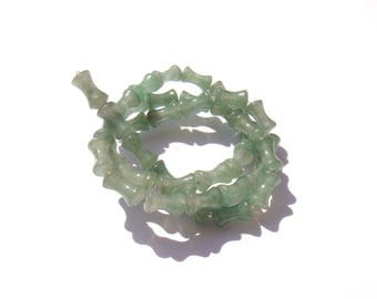 Green aventurine: 5 tubes 10 mm long x 5 mm diameter max
