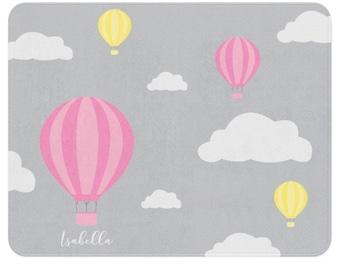 Cloud Rug, Hot Air Balloon Nursery, Cloud Nursery, Personalized Rug, Kids Playroom Decor, Travel Nursery Decor, Adventure Nursery, Grey Rug