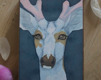 "Original Watercolor ""Dubious"" - Piebald Deer Watercolor"