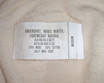 US Army cotton/wool winter undershirt size Medium; Lally 1985