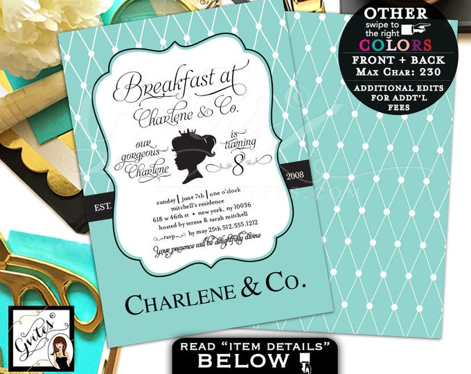 Breakfast at Tiffany's Invitations Baby and Co first birthday invitation, 8th birthday princess 1st, digital file 5x7 double sided