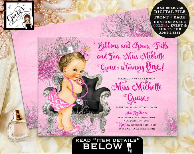 Pink and Silver First Birthday Invitation, princess baby 1st invites, hot pink, fuchsia, vintage invites, 7x5 double sided. DIGITAL