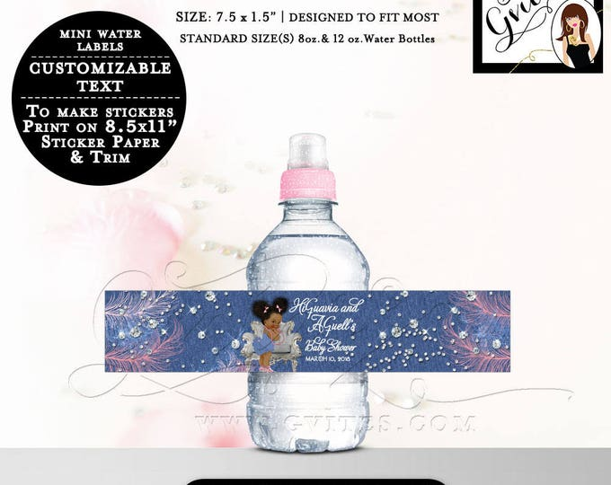 "Denim and Diamonds MINI Water Bottle Labels, baby shower stickers, water label Fits 8oz-12oz. Size: 7.5 x 1.5""/7 Per Sheet."