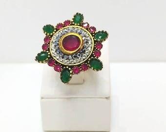 Sterling Silver Ring ,Silver Ring ,Rose silver Ring ,Emerald Ring ,Ruby Ring ,Zircon Ring