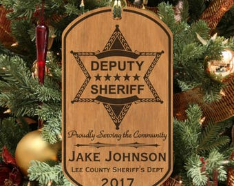 Deputy Sheriff Christmas Ornament Gift, Personalized FREE with Name and Dept. Wood Keepsake