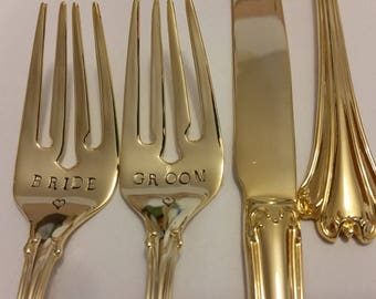 3pc cake servers gold flatware 2 Hand stamped wedding forks +1 Unstamped Knife NEW Vintage 24K Gold plated Wonky BRIDE GROOM Gatsby Wedding