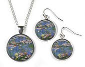 WATERLILIES Claude Monet  Set Pendant Chain  Earrings  Glass Picture Jewellery  Silver Plated
