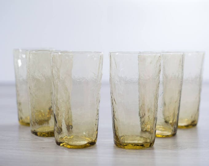 Vintage Crinkle Glasses / Set of 6 Honey Colored Icicle Textured Drinking Glasses / Amber Yellow Cocktail Glassware Barware Art Glass