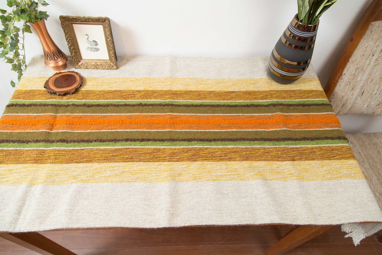 Vintage Tablecloth 1960 s Mid Century Modern Striped Danish