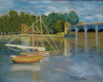 Navy the sea painting realistic chalk pastel boats painting