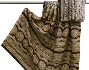 Free Shipping Indian Vintage 100% Pure Silk Saree Brown Floral Printed Sari Recycled Fabric Used Saree 5 YD PS50378