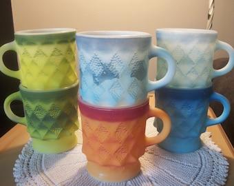 Set of 6 Vintage Anchor Hocking FIRE KING KIMBERLY Mugs Raised Diamond Pattern Assorted Ombre Colors 1960s Retro Kitcheniana Camp Farmhouse